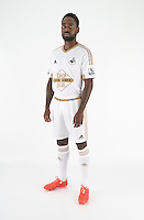 Wednesday 06 May 2015<br /> Pictured: Nathan Dyer in home kit.<br /> Re: Swansea City FC new Adidas kit at Fairwood Training Ground.