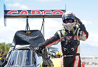 Apr. 1, 2012; Las Vegas, NV, USA: NHRA top fuel dragster driver Steve Torrence during the Summitracing.com Nationals at The Strip in Las Vegas. Mandatory Credit: Mark J. Rebilas-