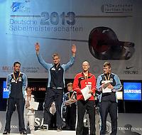 Deutsche Meisterschaft DM 2013 Fechten Säbel in Tauberbischofsheim -im Bild: Siegerehrung Herrensäbel - 1. Benedikt Wagner (Dormagen), 2. Matyas Szabo (Dormagen, links), 3. Maximilian Kindler (Eislingen, 2.v.r.), 3. Richard Hübers (Dormagen, rechts).<br /> <br />  Foto: Norman Rembarz