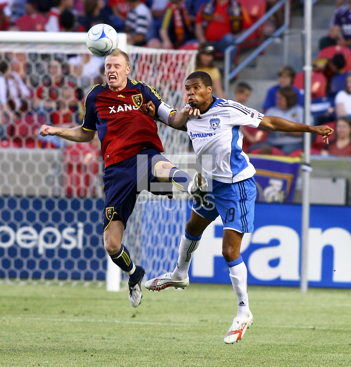 Nat Borchers, Ryan Johnson in the San Jose Earthquakes @ Real Salt Lake 1-1 draw at Rio Tinto Stadium in Sandy, Utah on July 03, 2009