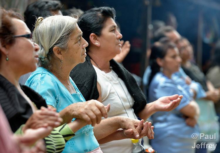 Protestors celebrate Mass along a rural road into a US-operated gold mine in La Puya, near San Jose del Golfo, Guatemala.