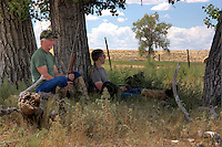 Mid-day break in the shade during a mourning dove hunt