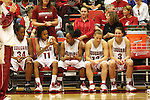 Ebonee Coates (#34), Jazmine Perkins (#11), April Cook (#1), Kaite Appleton (#13) and Rosie Tarnowski (#3) await to be announced as the Washington State University starters prior to the start of the Cougars game against Montana State in Pullman, Washington, on November 23, 2008.  The Cougars prevailed in the contest, 78-66.
