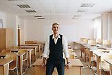 """Alexander Jadrin ist ein Lehrer als Quereinsteiger im Rahmen des Programmes """"Lehrer für Russland"""". Er lehrt seit 4 Jahren an der Grundschule in Karinskoje, 70 km westlich von Moskau. / Alexander Yadrin in Karinskoye school"""