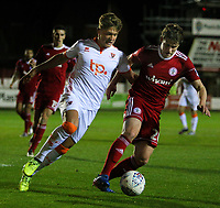 Blackpool's Max Clayton vies for possession with Accrington Stanley's Reagan Ogle<br /> <br /> Photographer Alex Dodd/CameraSport<br /> <br /> EFL Checkatrade Trophy - Northern Section Group B - Accrington Stanley v Blackpool - Tuesday 3rd October 2017 - Crown Ground - Accrington<br />  <br /> World Copyright &copy; 2018 CameraSport. All rights reserved. 43 Linden Ave. Countesthorpe. Leicester. England. LE8 5PG - Tel: +44 (0) 116 277 4147 - admin@camerasport.com - www.camerasport.com