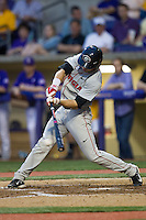 Georgia Bulldogs outfielder Connor Welton #8 swings the bat during the Southeastern Conference baseball game against the LSU Tigers on March 22, 2014 at Alex Box Stadium in Baton Rouge, La. The Tigers defeated the Bulldogs 2-1. (Andrew Woolley/Four Seam Images)