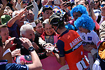 Local man Vincenzo Nibali (ITA) Bahrain-Merida signs autographs for fans before the start of Stage 4 of the 100th edition of the Giro d'Italia 2017, running 181km from Cefalu to Mount Etna, Sicily, Italy. 9th May 2017.<br /> Picture: LaPresse/Gian Mattia D'Alberto | Cyclefile<br /> <br /> <br /> All photos usage must carry mandatory copyright credit (&copy; Cyclefile | LaPresse/Gian Mattia D'Alberto)