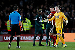 Dean Henderson (r) of Sheffield United remonstrates with Referee Stuart Attwell after VAR rules to award Newcastle United their second goal during the Premier League match at Bramall Lane, Sheffield. Picture date: 5th December 2019. Picture credit should read: James Wilson/Sportimage