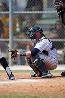 Western Connecticut Colonials catcher Zach Sagar (26) awaits the pitch during the second game of a doubleheader against the Edgewood College Eagles on March 13, 2017 at the Lee County Player Development Complex in Fort Myers, Florida.  Edgewood defeated Western Connecticut 3-1.  (Mike Janes/Four Seam Images)