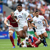 Manu Tuilagi of England takes on the Wales defence. Quilter International match between England and Wales on August 11, 2019 at Twickenham Stadium in London, England. Photo by: Patrick Khachfe / Onside Images