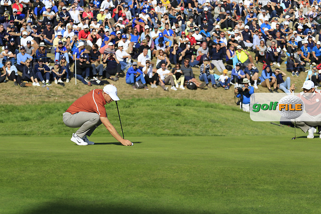 Alex Noran (Team Europe) on the 9th green during Saturday's Foursomes Matches at the 2018 Ryder Cup 2018, Le Golf National, Ile-de-France, France. 29/09/2018.<br /> Picture Eoin Clarke / Golffile.ie<br /> <br /> All photo usage must carry mandatory copyright credit (© Golffile | Eoin Clarke)