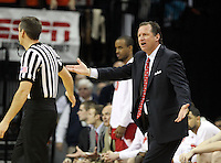 North Carolina State head coach Mark Gottfried reacts to a call during the game against Virginia Saturday in Charlottesville, VA. Virginia defeated NC State 58-55.