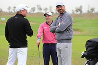 Jamie Donaldson (WAL) jokes with Paul McGinley (IRL) and Thomas Bjorn (DEN) on the range during Wednesday's Pro-Am Day of the 2014 BMW Masters held at Lake Malaren, Shanghai, China 29th October 2014.<br /> Picture: Eoin Clarke www.golffile.ie