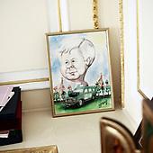 WARSZAWA, 28/06/2010: Gabinet prezydenta Lecha Kaczynskiego, tak jak pozostal po jego smierci w katastrofie Smolenskiej. <br /> Wnetrze w palacu prezydenckim po katastrofie smolenskiej, w ktorej smierc poniosl prezydent Lech Kaczynski. <br /> Palac Prezydencki, Warszawa, Czerwiec 2010<br /> Fot: Piotr Malecki / Napo Images<br /> <br /> Warsaw, Poland, June 2010: Detail at the empty interior of Presidential Palace after Polish president Lech Kaczynski went for the flight that was to end in a crash.at the cabinet -  A satirical drawing of late President Lech Kaczyski.  (Photo by Piotr Malecki / Napo Images)
