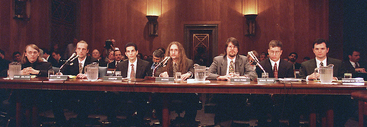 "5/19/98.SENATE GOVERNMENTAL AFFAIRS--Computer hackers from International;LOpht-a""hacker think tank,"" (Lto R)Brian Oblivion,Tan,Kingpin,Mudge,Weld Pond,Space Rougue and Stefan Von Neumann testify before the Senate Governmental Affairs hearing on government computer security..CONGRESSIONAL QUARTERLY PHOTO BY DOUGLAS GRAHAM"
