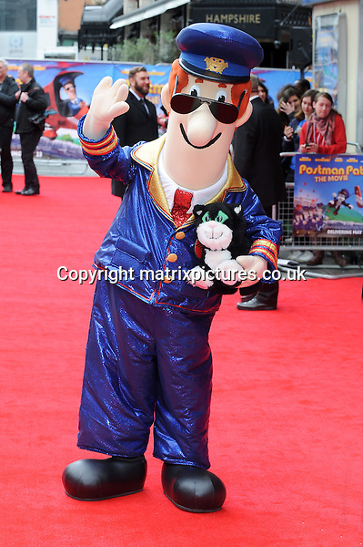 NON EXCLUSIVE PICTURE: PAUL TREADWAY / MATRIXPICTURES.CO.UK<br /> PLEASE CREDIT ALL USES<br /> <br /> WORLD RIGHTS<br /> <br /> Postman Pat attends the World Premiere of Postman Pat: The Movie, Odeon West End, London.<br /> <br /> MAY 11th 2014<br /> <br /> REF: PTY 142244