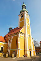 Old Town Square with St Stephan's (Istvan) church, K?szeg Hungary
