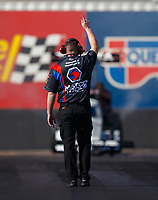 Feb 1, 2018; Chandler, AZ, USA; Crew member for NHRA top fuel driver Antron Brown during Nitro Spring Training pre season testing at Wild Horse Pass Motorsports Park. Mandatory Credit: Mark J. Rebilas-USA TODAY Sports