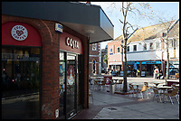 BNPS.co.uk (01202 558833)<br /> Pic:  RogerArbon/BNPS<br /> <br /> Costa Coffee and Caffe Nero - withing striking distance of each other in the centre of Christchurch.<br /> <br /> A retirement town that is overspilling with coffee shops is to get its 15th after officials lost their bid to put a lid on them.<br /> <br /> Councillors in Christchurch, Dorset, refused a Coffee#1 permission to take over an empty shop because the town had too many cafes.<br /> <br /> But the national chain appealed the decision and have won their case.<br /> <br /> It means there will now be 15 coffee shops in a 500 metre stretch of the High Street - or one every 33 metres.