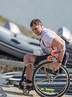 Caversham. Berkshire. UK<br /> GBR ASM1X, Tom AGGAR, carries his scull from the boating pontoon at the 2016 GBRowing, Para Rowing Media Day, UK GBRowing Training base near Reading, Berkshire.<br /> <br /> Friday  15/04/2016<br /> <br /> [Mandatory Credit; Peter SPURRIER/Intersport-images]
