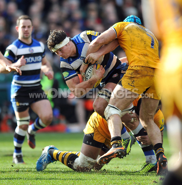 Francois Louw takes on the London Wasps defence. Aviva Premiership match, between Bath Rugby and London Wasps on February 22, 2014 at the Recreation Ground in Bath, England. Photo by: Patrick Khachfe / Onside Images