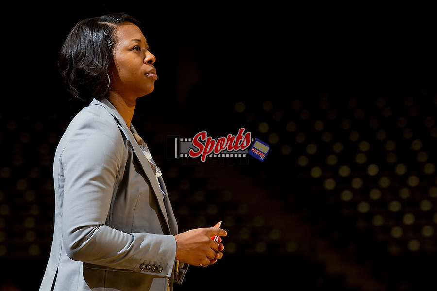 Clemson Tigers head coach Itoro Coleman watches from the sidelines during first half action against the Wake Forest Demon Deacons at the Lawrence Joel Coliseum on January 23, 2011 in Winston-Salem, North Carolina.  The Tigers defeated the Demon Deacons 77-73 in overtime.  Photo by Brian Westerholt / Sports On Film