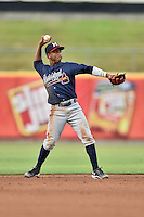 Mississippi Braves second baseman Ozzie Albies (20) warms up between innings during a game against the Tennessee Smokies at Smokies Stadium on July 23, 2016 in Kodak, Tennessee. The Braves defeated the Smokies 3-0. (Tony Farlow/Four Seam Images)