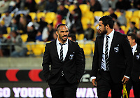 Thomas Leuluai (left) during the 2017 Rugby League World Cup quarterfinal match between New Zealand Kiwis and Fiji Bati at Wellington Regional Stadium in Wellington, New Zealand on Saturday, 18 November 2017. Photo: Dave Lintott / lintottphoto.co.nz