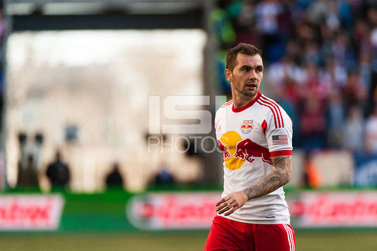 Jonny Steele (22) of the New York Red Bulls. The New York Red Bulls defeated the Philadelphia Union 2-1 during a Major League Soccer (MLS) match at Red Bull Arena in Harrison, NJ, on March 30, 2013.