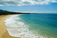 Gentle sea foam kisses the beautiful white sands of Makena Beach on Maui, also known as Big Beach.