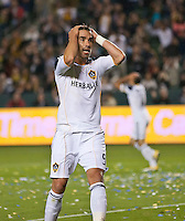 CARSON, CA – April 2, 2011: LA Galaxy forward Juan Pablo Angel (9) agonizes over a missed shot during the match between LA Galaxy and Philadelphia Union at the Home Depot Center, March 26, 2011 in Carson, California. Final score LA Galaxy 1, Philadelphia Union 0.