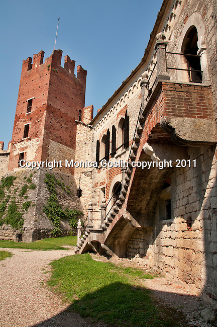 Castle of Soave, Italy a walled city with a 14th century castle and city walls