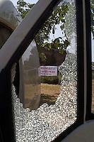 Roma 23 maggio 2009.Villa Gordiani.Assalto razzista alla festa del capodanno bengalese,il furgone danneggiato durante assalto..Racist attack on Bengali New Year festival, the van injured during assault