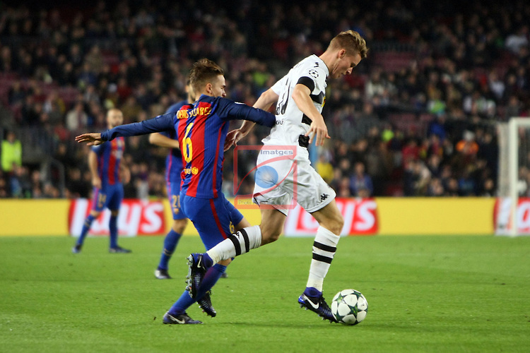 UEFA Champions League 2016/2017 - Matchday 6.<br /> FC Barcelona vs VfL Borussia Monchengladbach: 4-0.<br /> Denis Suarez vs Nico Elvedi.