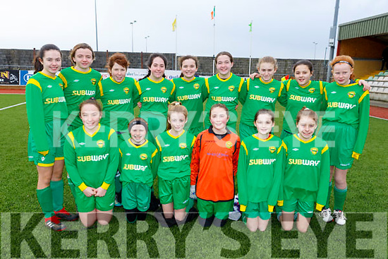 The Kerry U13 team who played Tipperary on Sunday in Mounthawk Park. Kneeling l to r: Elle-Mai Nugent, Fiana Bradley, Trina Murphy, Aoibhe Kelly, Lily Novak and Trina Kennedy. Standing l to r: Andrea Murphy, Eabha Lyne, Grainne Kennedy, Ava O'Malley, Katie Doe, Lucy O'Sullivan, Lucy Burton, Lauren Neff, and Seana Wilkson