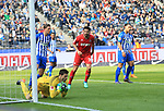 14.04.2018, OLympiastadion, Berlin, GER, 1.FBL, Hertha Rune Jarstein (Hertha BSC Berlin #22), Niklas Stark (Hertha BSC Berlin #5), Karim Rekik (Hertha BSC Berlin #4), Claudio Pizarro (1.FC Koeln #39)<br /> <br /> <br />       <br /> Foto &copy; nordphoto / Engler