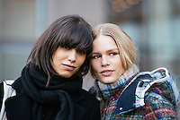 Mica Arganaraz and Anna Ewers attend Day 7 of New York Fashion Week on Feb 18, 2015 (Photo by Hunter Abrams/Guest of a Guest)