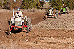 Antique tractors plowing a field in fall during the Branch 158 EDGE & TA Fall Plow Day and Plowing Seminar near Pleasant Grove, Calif...Silmer Scheidel Farm..1950s Ford 8N and Case VAO  tractors followed by a John Deere 1020 c. 1970s tractor