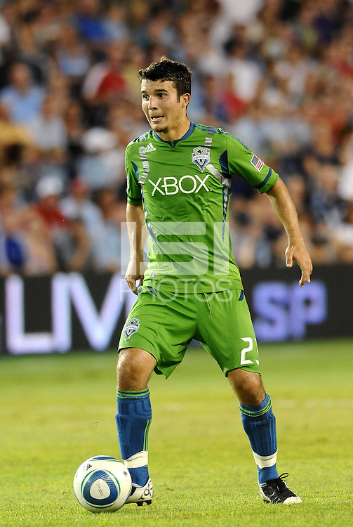Servando Carrasco (23) midfielder Seattle Sounders in action... Sporting Kansas City were defeated 1-2 by Seattle Sounders at LIVESTRONG Sporting Park, Kansas City, Kansas.