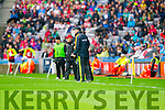 Eamon Fitzmaurice, Kerry Manager,  Kerry in Action Against  Tyrone in the All Ireland Semi Final at Croke Park on Sunday.