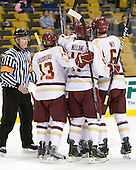 Kevin Keenan, Johnny Gaudreau (BC - 13), Pat Mullane (BC - 11), Patrick Wey (BC - 6) - The Boston College Eagles defeated the Providence College Friars 4-2 in their Hockey East semi-final on Friday, March 16, 2012, at TD Garden in Boston, Massachusetts.