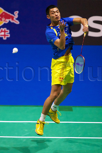 11.03.2012 Birmingham, England. Lin Dan (CHN) in action during the Yonex All England Open Badminton Championships at the National Indoor Arena.