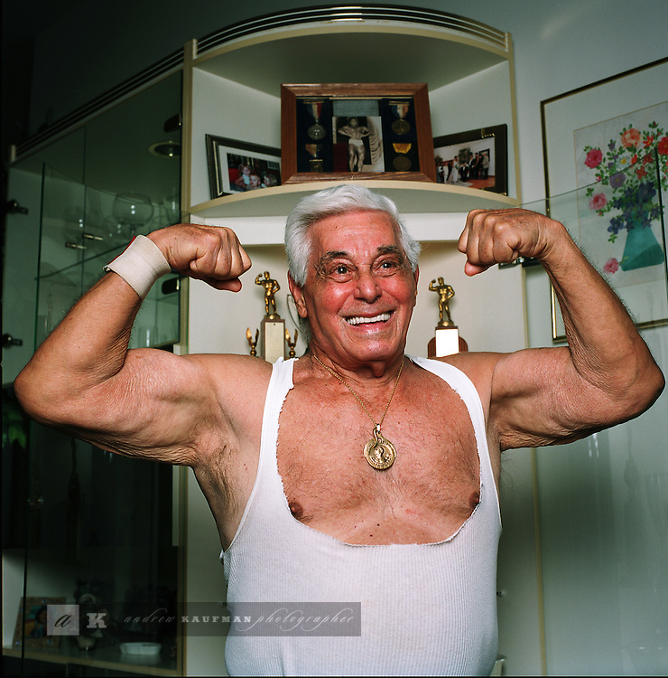 Tom Manfre was MR. WORLD in 1953. He is originally from Brooklyn, NY. Nowadays he lives in Land O Lakes, Florida. He worked with well known photographers such as Bunny Yaeger.