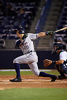 Lakeland Flying Tigers right fielder Ross Kivett (20) follows through on a swing during a game against the Tampa Yankees on April 7, 2017 at George M. Steinbrenner Field in Tampa, Florida.  Lakeland defeated Tampa 5-0.  (Mike Janes/Four Seam Images)