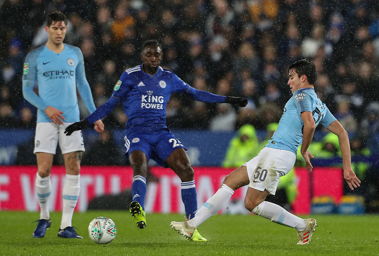 Manchester City 's Eric Garcia passes<br /> <br /> Photographer Andrew Kearns/CameraSport<br /> <br /> English League Cup - Carabao Cup Quarter Final - Leicester City v Manchester City - Tuesday 18th December 2018 - King Power Stadium - Leicester<br />  <br /> World Copyright © 2018 CameraSport. All rights reserved. 43 Linden Ave. Countesthorpe. Leicester. England. LE8 5PG - Tel: +44 (0) 116 277 4147 - admin@camerasport.com - www.camerasport.com