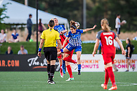 Boston, MA - Friday May 19, 2017: Megan Oyster and Angela Salem during a regular season National Women's Soccer League (NWSL) match between the Boston Breakers and the Portland Thorns FC at Jordan Field.