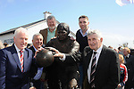16-5-2015: Former teamates Jimmy Deenihan, Denis Ogie Moran, Bomber Liston with current Kerry player and nephew Marc o'Se and Mick O'Dwyer at the unveiling of the Paidi O'Se statue at Ard an Bothair, Ventry, County Kerry on Saturday.<br /> Picture by Don MacMonagle