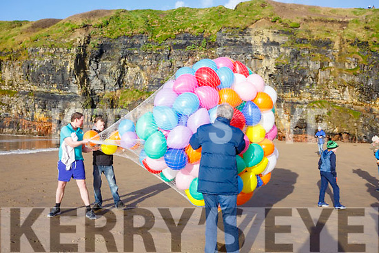 Releasing the balloons at the Fourth Annual Connie Harnett Memorial Swim in Ballybunion on New Years Day.