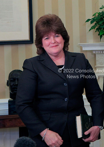 Julia Pierson, Director of the United States Service, after she took the oath of office in the Oval Office of the White House in Washington, D.C. on Wednesday, March 27, 2013..Credit: Dennis Brack / Pool via CNP