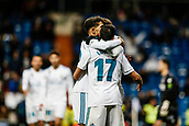 10th January 2018, Santiago Bernabeu, Madrid, Spain; Copa del Rey football, round of 16, 2nd leg, Real Madrid versus Numancia; Lucas Vazquez Iglesias (Real Madrid) celebrates his goal which made it 2-1